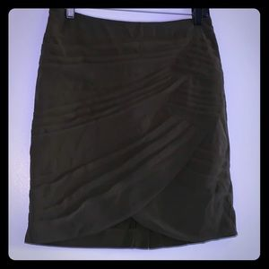 Olive green Wrap pleated skirt